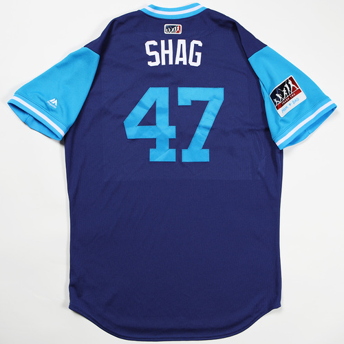 "Photo of JT ""Shag"" Chargois Los Angeles Dodgers Team-Issued 2018 Players' Weekend Jersey"