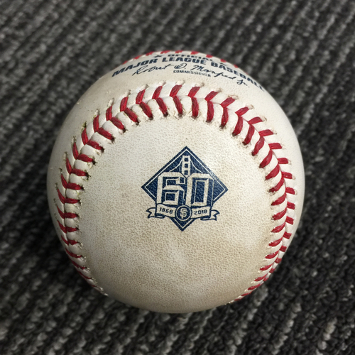 Photo of 2018 San Francisco Giants - Game Used Baseball vs. Houston Astros on 8/7/18 - Jake Marisnick Double to LF