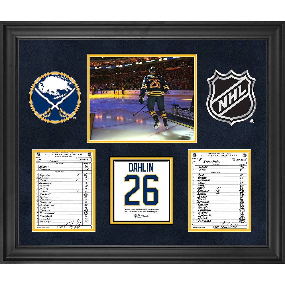 Buffalo Sabres Framed Original Line-Up Cards from October 4, 2018 vs. Boston Bruins - Rasmus Dahlin NHL Debut