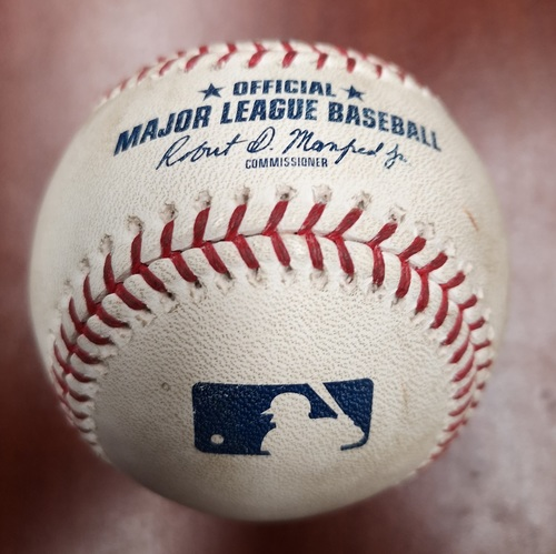 Photo of Authenticated Game Used Baseball - Ground Out to SS by Vladimir Guerrero Jr. against Jose Berrios (May 7, 2019 vs MIN). Bottom 7. Career Game #10.