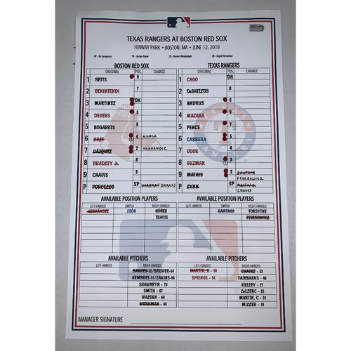Photo of Texas Rangers vs Boston Red Sox June 12, 2019 Game Used Lineup Card - Red Sox Win 4 to 3