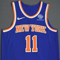 Frank Ntilikina - New York Knicks - 2018-19 Season - London Games - Game-Worn 2nd Half Blue Icon Edition Jersey