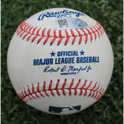 Photo of Game-Used Baseball: Mike Montgomery Pitched Strikeout to Matt Chapman (OAK @ KC - 8/27/19)