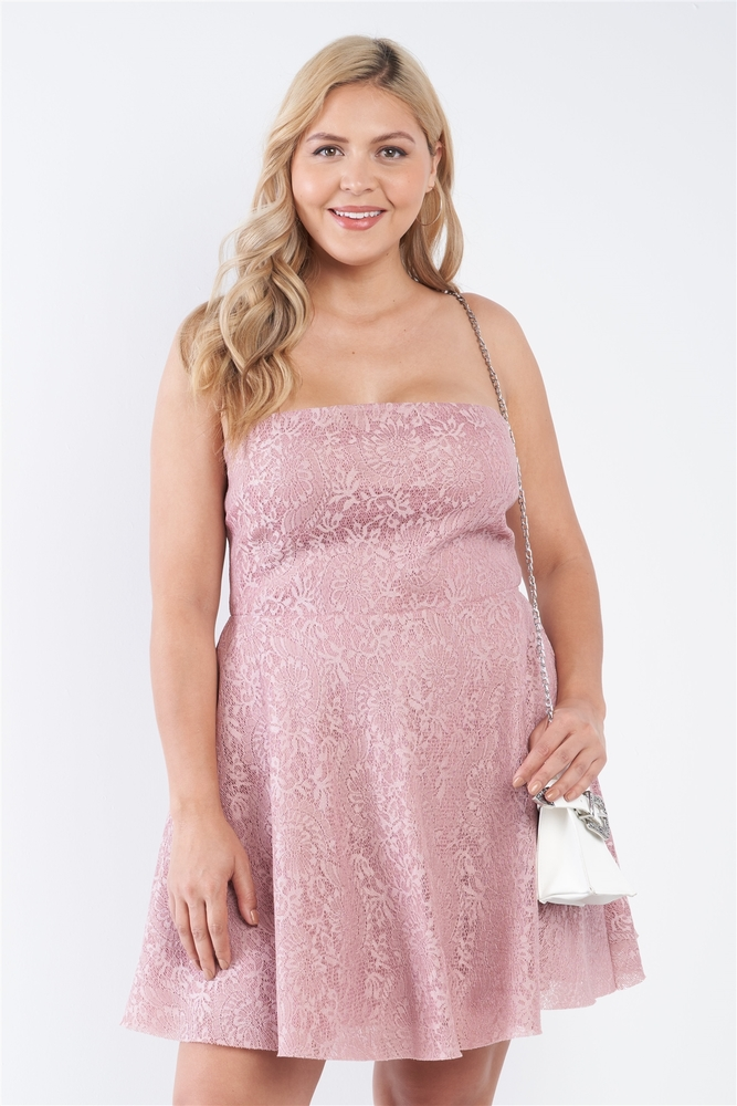 Photo of Serenity Plus Size Floral Lace Strapless Fit & Flare Mini Dress