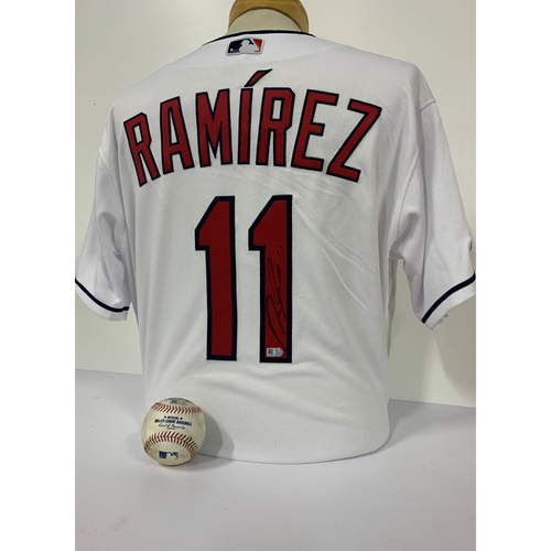 Photo of 2020 Silver Slugger Award Winner Jose Ramirez Autographed Home Jersey and Game Used Baseball: 2-RBI Double vs. Chicago White Sox (9/24/20)