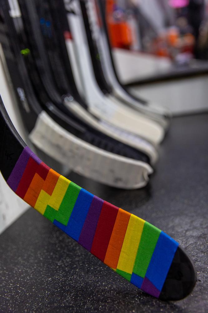 Sami Vatanen Autographed 2020-21 Pride Taped Stick - New Jersey Devils