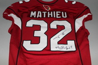 CARDINALS - TYRANN MATHIEU SIGNED AND GAME ISSUED CARDINALS JERSEY (2016)
