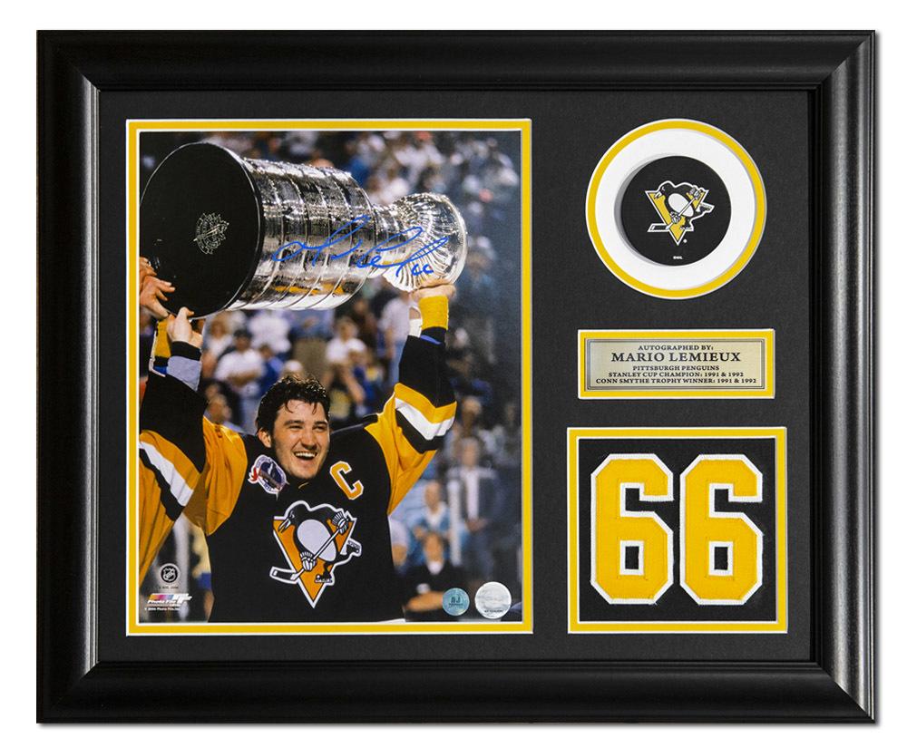 Mario Lemieux Pittsburgh Penguins Autographed 1991 Stanley Cup 19x23 Frame