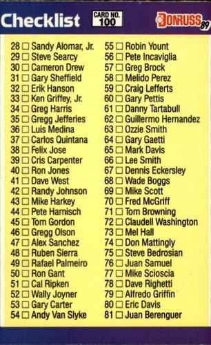 Photo of 1989 Donruss #100 Checklist 28-137