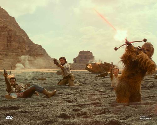 Rey, Poe Dameron, Finn and Chewbacca