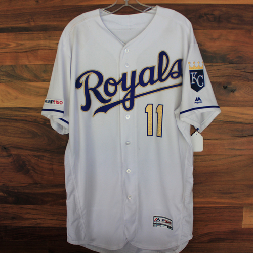 Photo of Game-Used Jersey: Bubba Starling 21st Career Hit and 8th Career RBI (Size 48 - NYM @ KC - 8/16/19)
