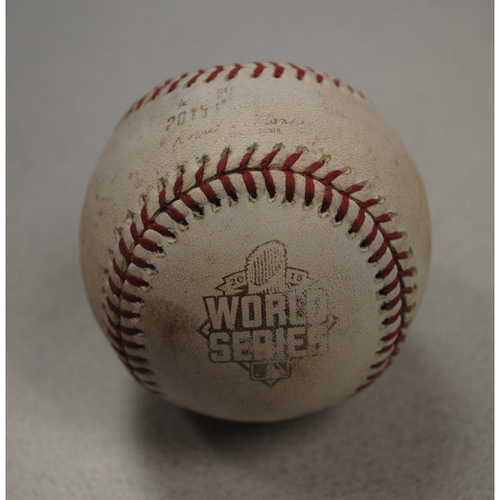 Photo of Game-Used Baseball - 2015 World Series - New York Mets at Kansas City Royals - Batter: Yoenis Cespedes, Pitcher: Edinson Volquez, Top of 6, Single to Center Field - Game 1 - 10/27/2015