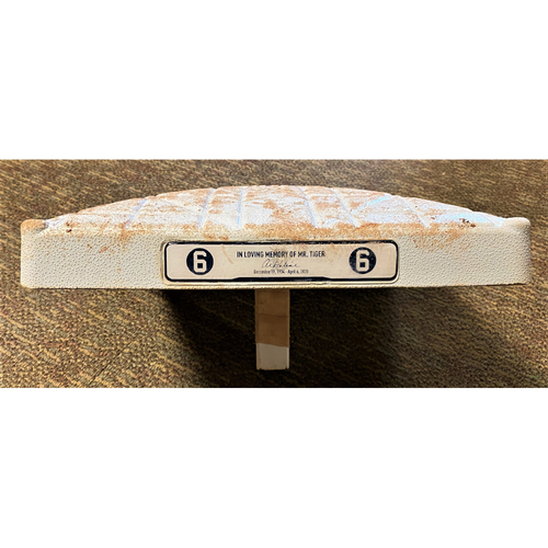 Photo of 2020 Detroit Tigers Comerica Park Game-Used Base with Kaline Base Jewels - Mize Home Debut, Skubal Career Win #1, Soto Career Save #1, Alexander Strikeout Streak, Gardenhire Final Career Win and Cabrera Milestones (MLB AUTHENTICATED)