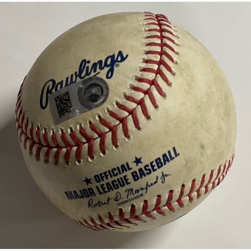 Photo of Game-Used Baseball - 9/27/2020 - Pirates at Indians - Adam Frazier Double
