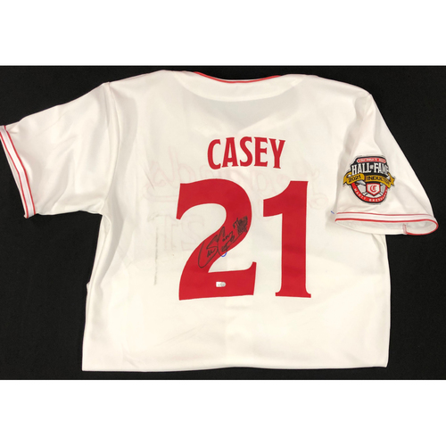 Photo of Sean Casey - AUTOGRAPHED Game Used Jersey: Reds Hall of Fame Legends Game