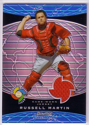 Photo of 2009 Bowman Sterling WBC Relics Blue Refractors #RM Russell Martin