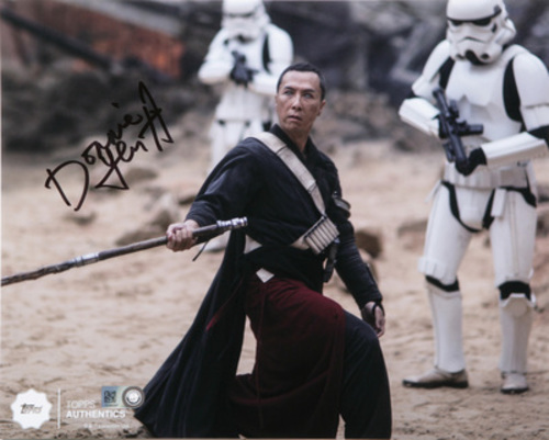 Donnie Yen as Chirrut Îmwe at the Fight in Jedha Autographed in Black Ink 8x10 Photo