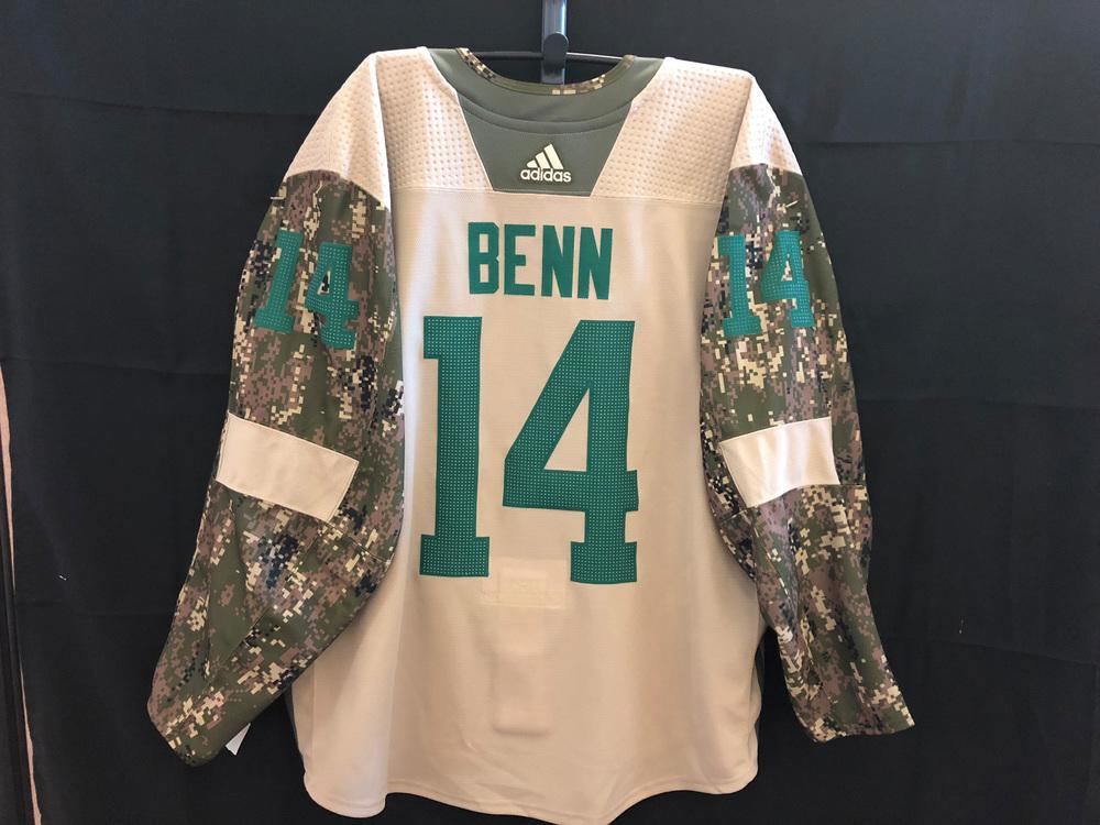 best website 9f55c 2674b Jamie Benn Dallas Stars Warm-Up Used Veterans Night Camo ...