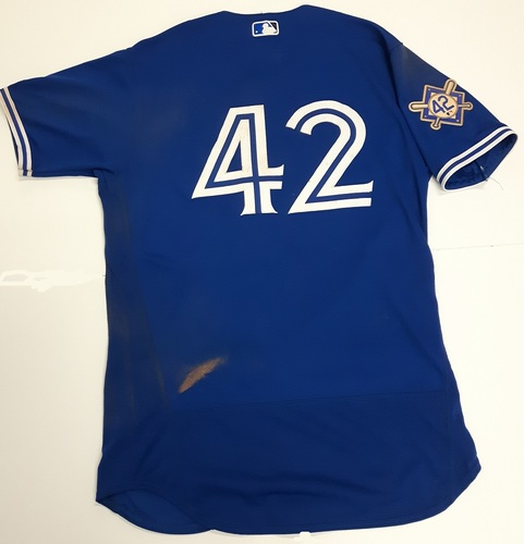 Photo of CHARITY AUCTION: Authenticated Game Used #42 Jersey - Yangervis Solarte (April 17, 2018: 2-for-4 with 1 HR, 1 Run and 4 RBIs. May 3, 2018: 5-for-6 with 1 Double, 1 Grand Slam, 2 Runs, 6 RBIs and 1 Walk). Size 46