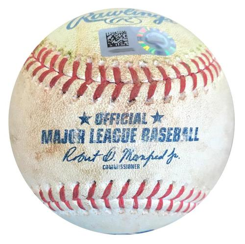 Photo of Game-Used Baseball from Pirates vs. Cubs on 5/29/18 - Contreras Single, Happ RBI Double