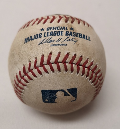Photo of Authenticated Player Collected Baseball - Adam Lind Ground Rule Double against Michael Mariot (May 31, 2014 vs KC). Bottom 2. Marcus Stroman's 1st Career Start Game.