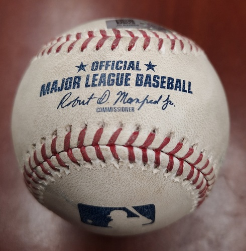 Photo of Authenticated Game Used Baseball - Pop Out to 1B by Vladimir Guerrero Jr. against Dylan Covey (May 10, 2019 vs CWS). Bottom 5. Career Game #11.