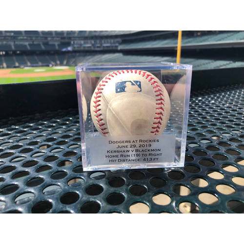 Photo of Colorado Rockies Player Collected Baseball - Pitcher: Clayton Kershaw, Batter: Charlie Blackmon - Homerun (19) - June 29th, 2019 vs. Dodgers