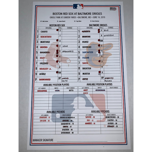 Photo of Boston Red Sox vs Baltimore Orioles June 14, 2019 Game Used Lineup Card - Red Sox Win 13 to 2