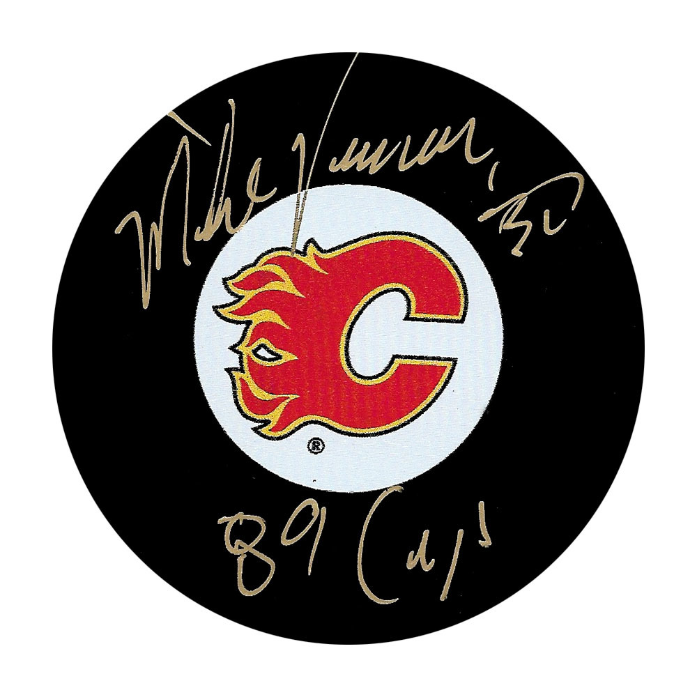 Mike Vernon Autographed Calgary Flames Puck w/89 CUP Inscription
