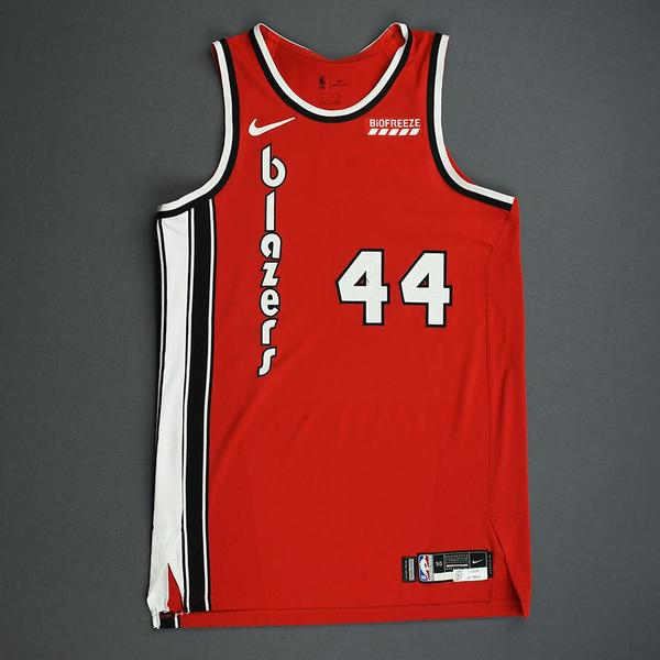 Image of Mario Hezonja - Portland Trail Blazers - Game-Worn Classic Edition 1975-77 Road Jersey - Double-Double - 2019-20 NBA Season