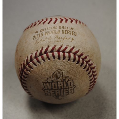 Photo of Game-Used Baseball - 2015 World Series - New York Mets at Kansas City Royals - Batter: Lorenzo Cain, Pitcher: Tyler Clippard, Bottom of 8, Foul Tip on Bunt Attempt - Game 1 - 10/27/2015