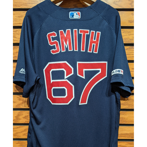 Photo of Josh Smith #67 Game Used Navy Road Alternate Jersey