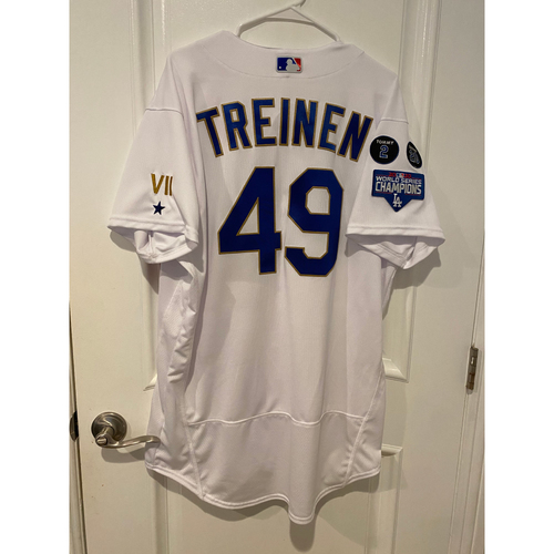Photo of Blake Treinen Special-Edition Home Opening Weekend Gold-Outlined Game-Used Jersey