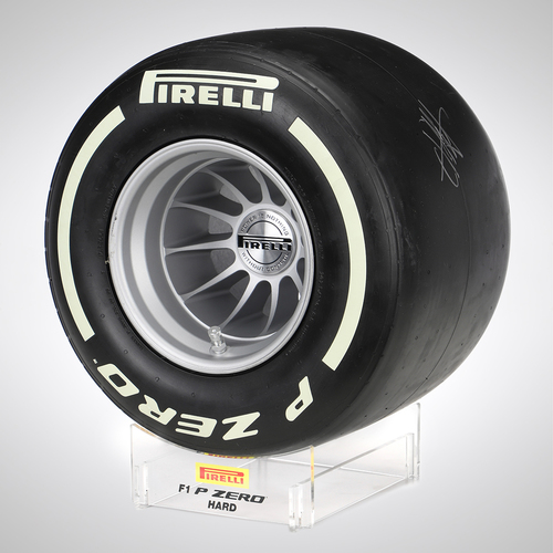 Photo of Pirelli Hard Compound Wind Tunnel Tyre Replica Signed by Vettel & Stroll
