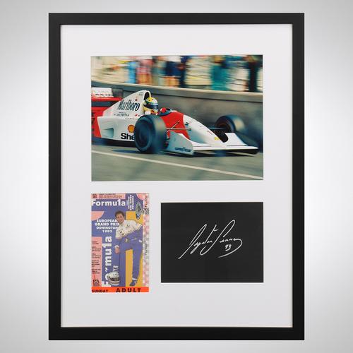 Photo of Ayrton Senna 1993 European Grand Prix Ticket and Autograph