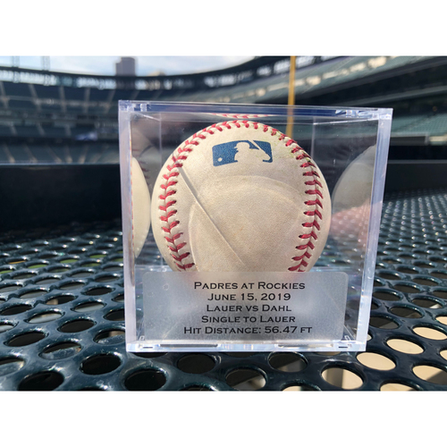 Photo of Colorado Rockies Game Used Baseball - Pitcher: Eric Lauer, Batter: David Dahl - Single to Eric Lauer - June 15, 2019 vs. Padres