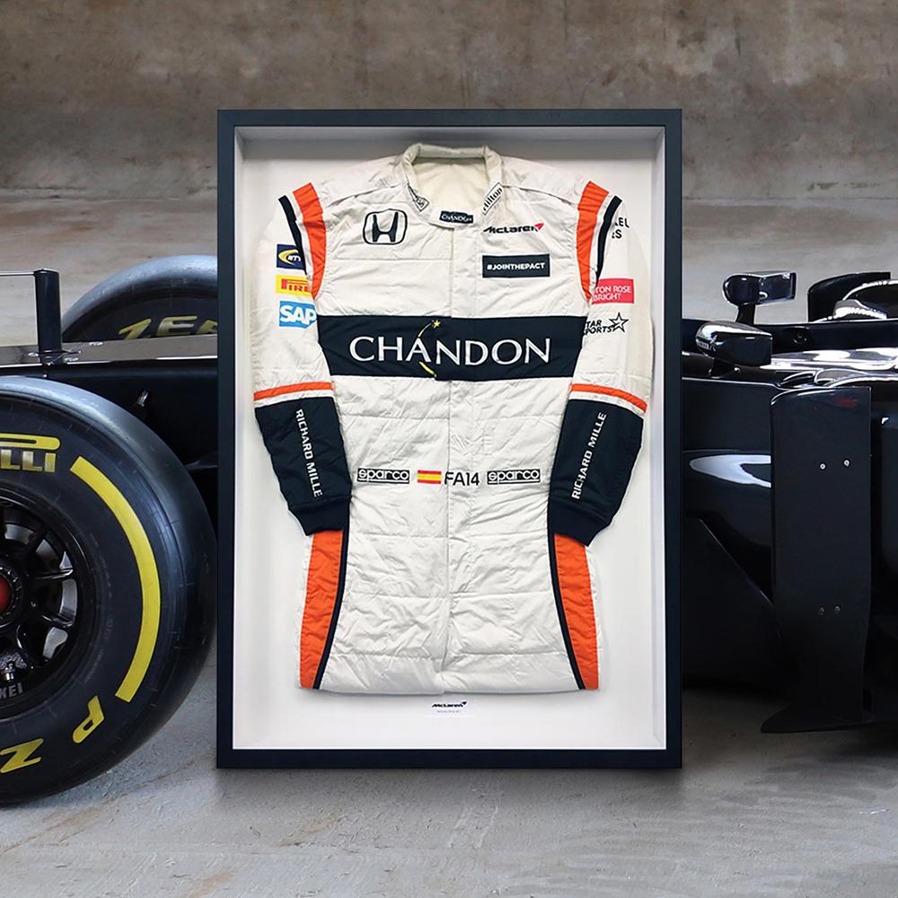 Fernando Alonso 2017 Framed Race-worn Race Suit - McLaren