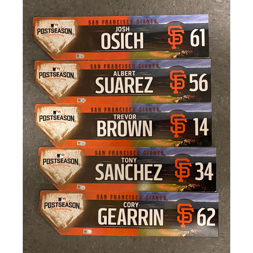 Photo of 2016 Game Used Postseason Locker Tag Bundle - #56 Albert Suarez, #61 Josh Osich, #62 Cory Gearrin, #34 Tony Sanchez, #14 Trevor Brown