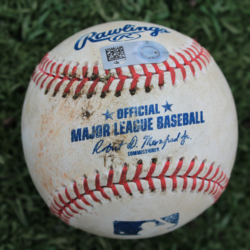 Photo of Game-Used Baseball: Meibrys Viloria 25th Career Hit, Nicky Lopez 76th Career Hit, Whit Merrifield 616th Career Hit (OAK @ KC - 8/27/19)