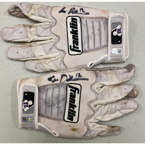 Photo of 2020 Black Friday Sale - #12 Alex Dickerson Team Issued Autographed White Batting Gloves