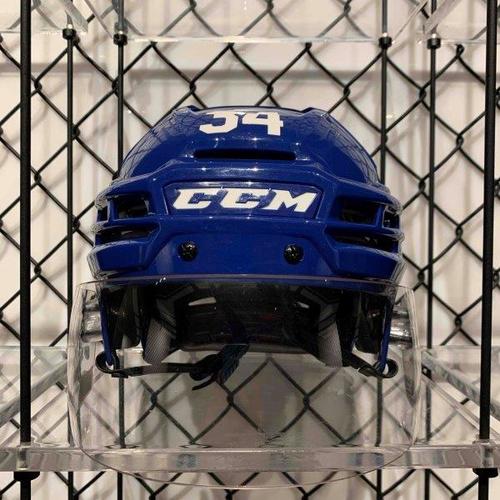 #34 Auston Matthews Worn Blue CCM Helmet