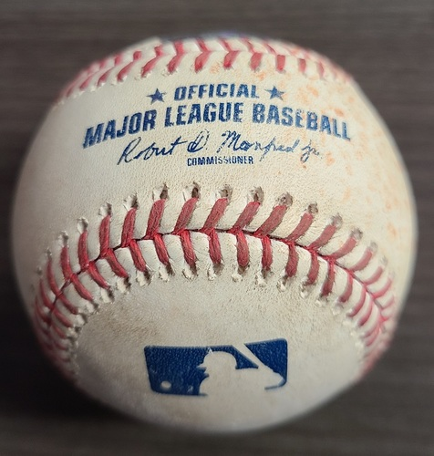Photo of Authenticated Game Used Baseball: RBI Double by Bobby Bradley against Hyun Jin Ryu (Aug 3, 2021 vs CLE). Top 4.