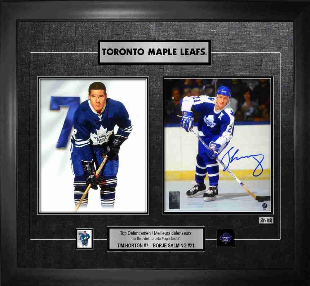 Borje Salming - Signed & Framed Collage Toronto Maple Leafs w/Horton - LE 1000