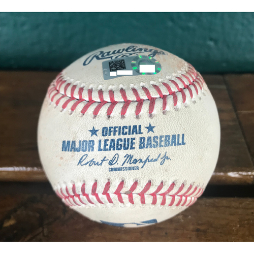 Cardinals Authentics: Game-Used Baseball Pitched by Bruce Rondon to Yadier Molina and Dexter Fowler *Single, Swinging Strike*