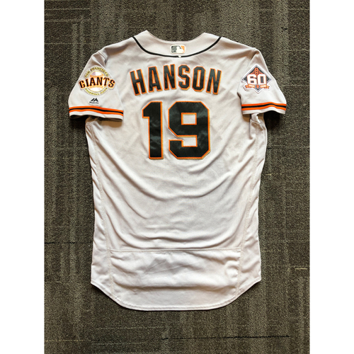 Photo of 2018 San Francisco Giants - Road Game Used Jersey worn by #19 Alen Hanson on 8/14/18 vs. Los Angeles Dodgers - Size 44