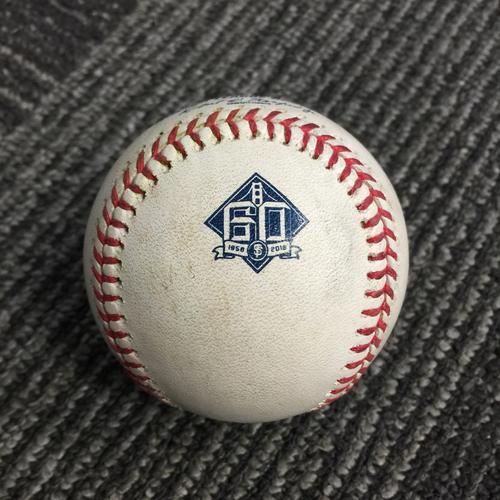 Photo of 2018 San Francisco Giants - Game Used Baseball vs. Atlanta Braves on 9/12/18 - Freddie Freeman RBI Single to RF (Ozzie Albies Scores)