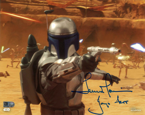 Temuera Morrison As Jango Fett 8X10 Autographed in Blue Ink Photo