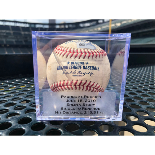 Photo of Colorado Rockies Game Used Baseball - Pitcher: Robbie Erlin, Batter: Trevor Story - Single to Hunter Renfroe - June 15, 2019 vs. Padres