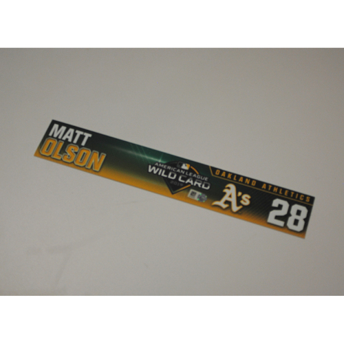 Photo of Matt Olson Game-Used AL Wild Card Game Locker Nameplate