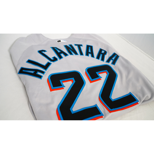 """Photo of Sandy Alcantara Team-Issued Jersey with Specialty """"Juneteenth"""" Air Force 1 Sneakers Designed by Julian Reams - @jubeanski - Jersey Size 46"""